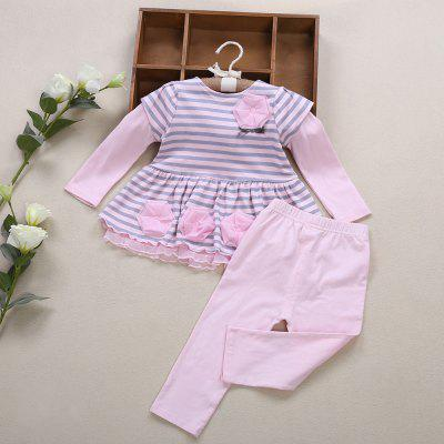 2pcs Flower Striped Ruffled Elastic Lace Girls Clothing SetGirls clothing sets<br>2pcs Flower Striped Ruffled Elastic Lace Girls Clothing Set<br><br>Collar: Round Neck<br>Elasticity: Elastic<br>Material: Cotton, Spandex<br>Package Contents: 1 x Tops, 1 x Pants<br>Pattern Type: Striped<br>Shirt Length: Regular<br>Sleeve Length: Full<br>Style: Sweet<br>Weight: 0.182kg