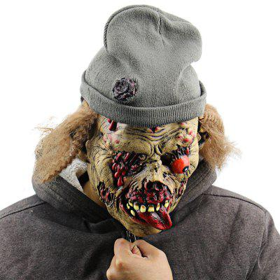 Creepy Funny Undead Zombie Old Man Latex Mask with Hat