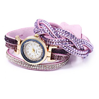 Women Bracelet Quartz Wrist Watch Stainless Steel  Multilayer Straps
