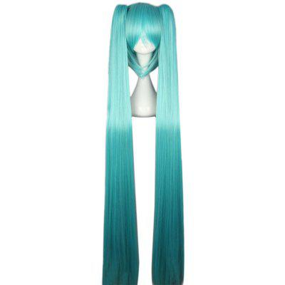 Women Long Straight Blue Full Wigs with Bangs  2 Ponytails