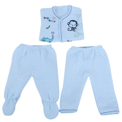 Newborn Babies Cartoon Print Clothing Setbaby clothing sets<br>Newborn Babies Cartoon Print Clothing Set<br><br>Closure Type: Single Button<br>Collar: Round Neck<br>Gender: Unisex<br>Material: Cotton<br>Package Contents: 1 x Clothing, 1 x Saliva Towel, 1 x Hat<br>Season: Autumn<br>Sleeve Length: Full<br>Style: Leisure<br>Thickness: General<br>Weight: 0.2620kg