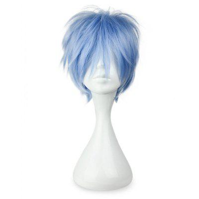 Short Sky Blue Full Wigs with Bangs