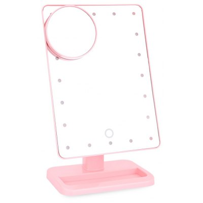 20 LEDs Portable Touch Screen Folding Toilet Lighted Makeup Mirror