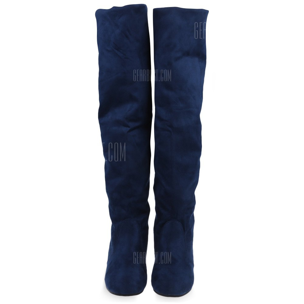 clearance store outlet big discount Pure Color Round Toe Ladies Knee Boots cltUePb6