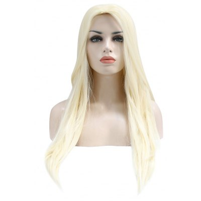 Long Straight Off-white Wigs Synthetic Hair