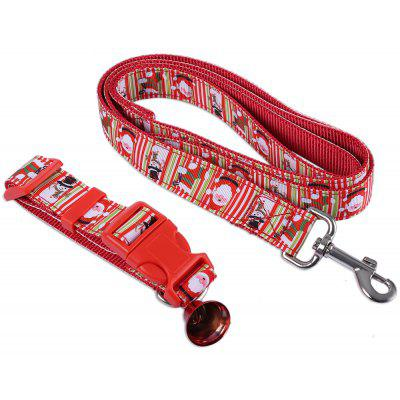 2pcs Christmas Pattern Pet Leading Leash Dog Collar