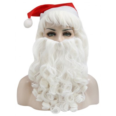 Complete Santa Claus Christmas Big Wavy Wig Beard Hat Kit