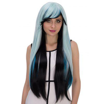 Long Straight Gradient Three Colors Wigs