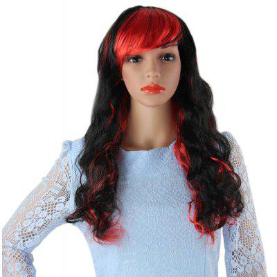 Long Wavy Mixed Color Wigs Side Bangs