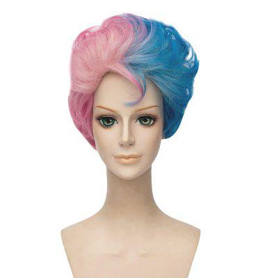 Male Version Short Curly Gradient Mixed Colors Blue Pink Wigs