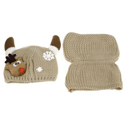 Horn Snow Deer Pattern Knitted Babies Hat with Scarf