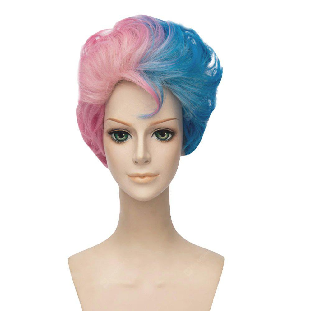 Versión Masculina Curly Curly Gradient Mixed Colours Blue Pink Wigs