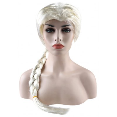 Long Layering Off-white Wigs Braid Hairstyle