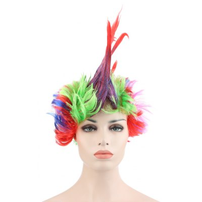 Funny Cosplay Large Colorful Mohawk Wig