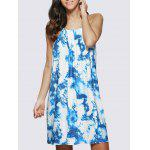 Women Chic Spaghetti Strap Ombre Printed Mini Dress - BLUE