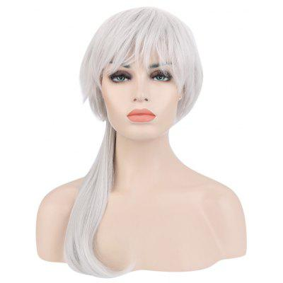 Long Straight Layered Anti-alice Silver White Wigs