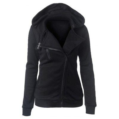 Casual Zipper Button Design Women Hoodie