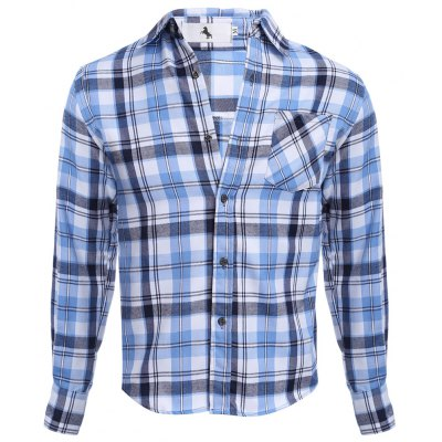 Buy AZURE Grid Design Slim Fit Male Long Sleeve Shirt for $19.17 in GearBest store