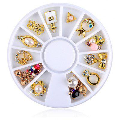 12pcs Nail Gold Flower Ring Decoration Alloy Pearl Jewelry Rhinestone
