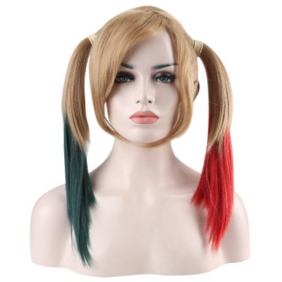 Medium Straight Mixed Colors Green Red Wigs