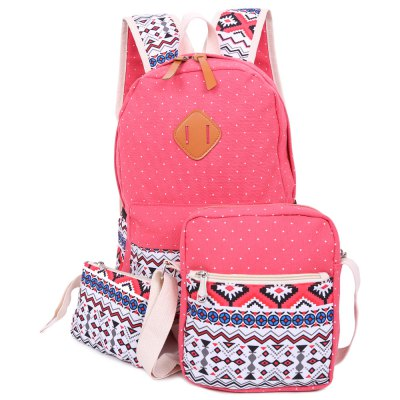 3pcs Print Zipper Type Student Backpack Travel Bag