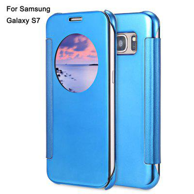 Buy BLUE Mirror Flip Cover PC Case for Samsung Galaxy S7 for $2.10 in GearBest store
