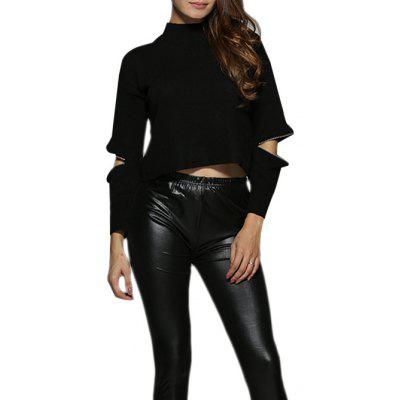 Women Chic Round Collar Cut Out Zippered Blouse