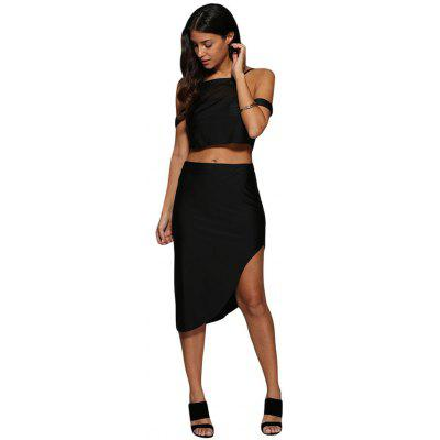 Women Sexy Cold Shoulder Asymmetrical Two Piece Dress