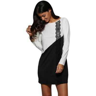 Women Brief Scoop Collar Color Block Mini Dress