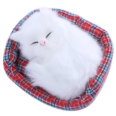 Lovely Simulation Sounding Sleeping Cat Plush Doll
