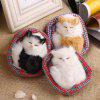 Lovely Simulation Sounding Sleeping Cat Plush Doll - WHITE AND BLACK
