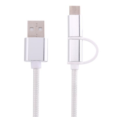 2 in 1 Micro USB Charge Cable with Type-C Adapter 1m