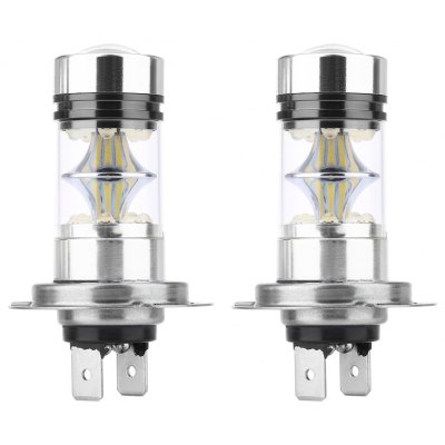Pair of Universal Car H7 100W 6000K LED Fog Lamp