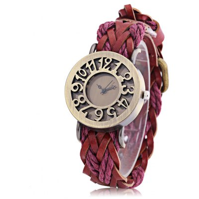 Fashion Women Quartz Hollow Numerals Dial Watch