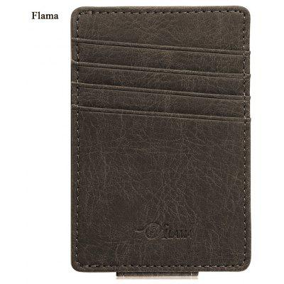Flama Dull Polish Invisible Magnet Button Open Card Wallet Money Clip
