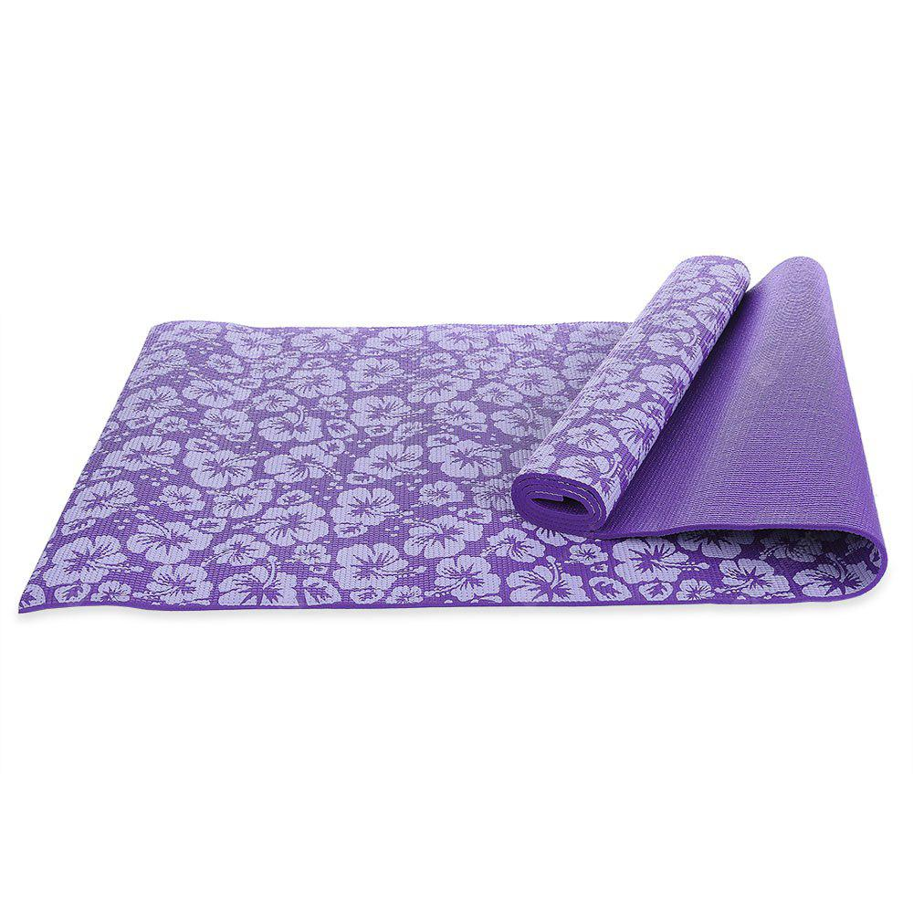 PURPLE Exercise Fitness Yoga Mat Accessory with Flower Printing