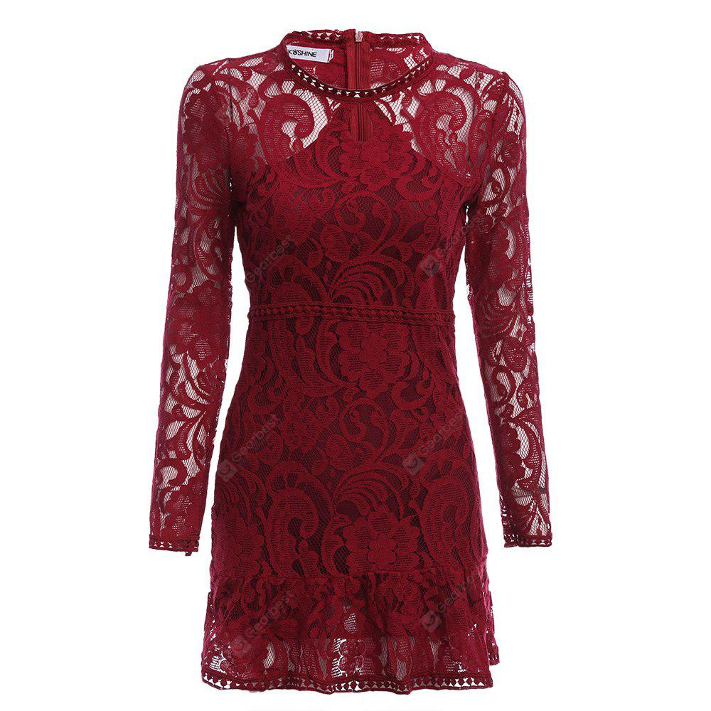 Women Elegant Keyhole Neck Lace Sheer Bodycon Dress