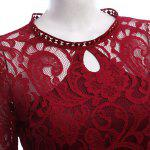 Women Elegant Keyhole Neck Lace Sheer Bodycon Dress deal