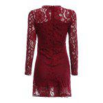 Women Elegant Keyhole Neck Lace Sheer Bodycon Dress - WINE RED