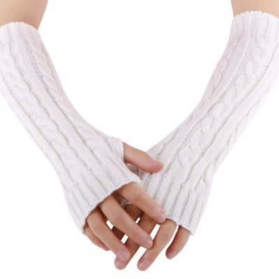 Spiral Pattern Ladies Warm Open Finger Knitted Gloves