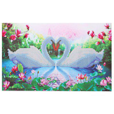 30 x 45cm 5D Couple Swan Lake Painting Cross Stitch Tool
