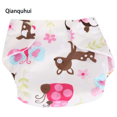 Qianquhui Cartoon Print Soft Thick Adjustable Cloth Diaper