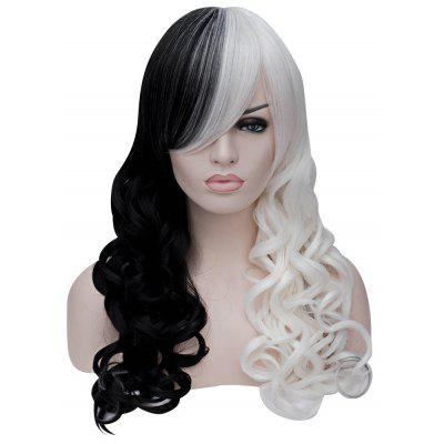 Women Sexy Long Curly Black White Full Wigs