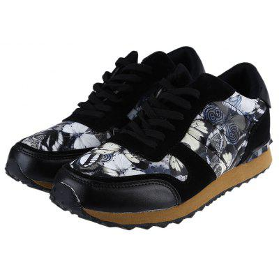 Buy BLACK Floral Print Lace Up Male Hip-hop Sports Sneakers for $27.98 in GearBest store