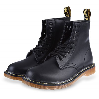 Pure Color Round Toe Lace Up Male High-top Boots