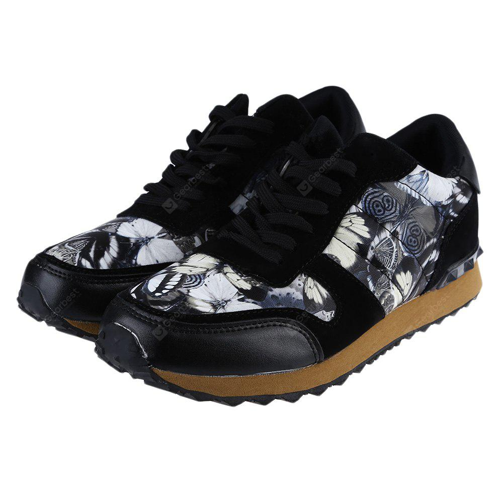 BLACK Floral Print Lace Up Male Hip-hop Sports Sneakers