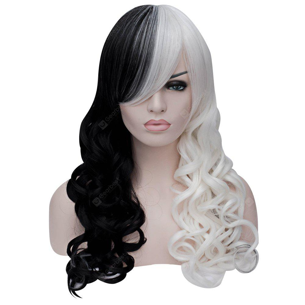 Mujeres Sexy Long Curly Negro Blanco Full Wigs