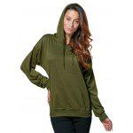 Women Casual Hooded Front Pocket Green Hoodie - ARMY GREEN