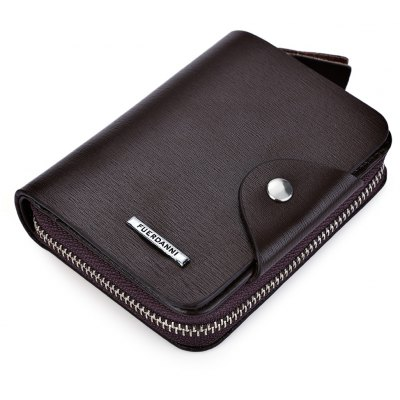 Toothpick Line Solid Color Letter Hasp Zipper Short Wallet