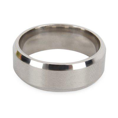 Chic Double Bevel Dumb Face Pure Color Stainless Steel Ring